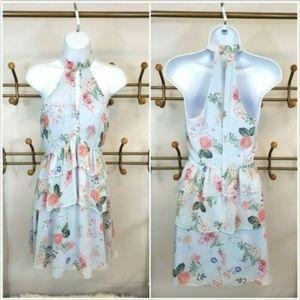 Express Ruffle Tiered High Neck Floral Dress 0